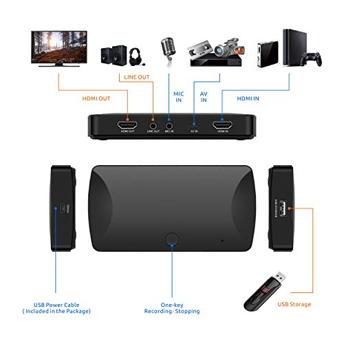 LinkStable Standalone Game Capture Card Recorder with Mic In - 1080P @ 30fps HDMI Video Grabber - Digitize HD Videos to USB Flash Drive (HDMI/AV/YPBPR Input, No PC)