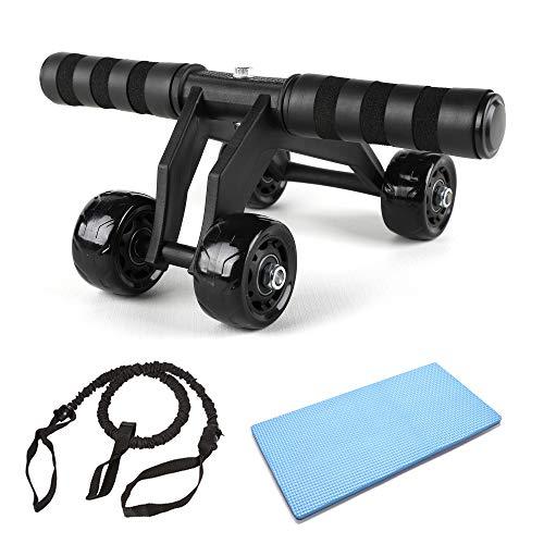 JuguHoovi AB Roller Bauchtrainer, Abdominal Roller AB-Wheel Bauchmuskeltrainer,4 Rad Kraftrad Fitness Set für Herren und Damen
