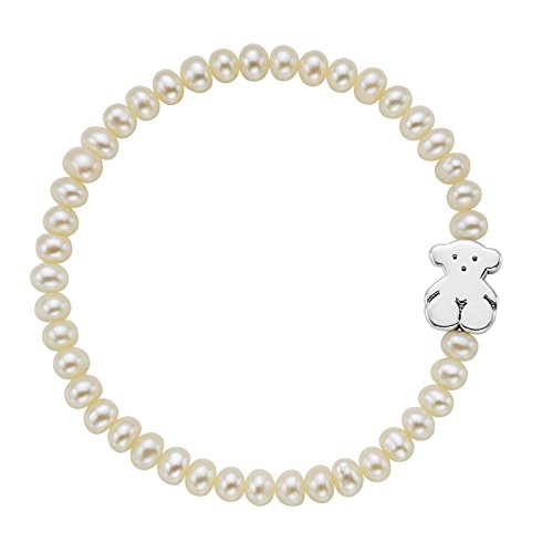 TOUS Pulsera Sweet Dolls, elástica ajustable mujer, Perlas cultivadas y plata de primera Ley, Largo: 19 cm