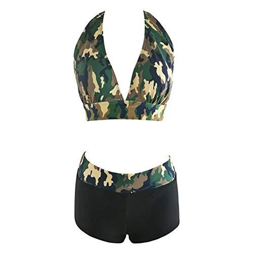 Gilroy Camouflage Halter Bikini Deep V Swimsuit Bathing Suit Push up Padded Bra+Panties Set
