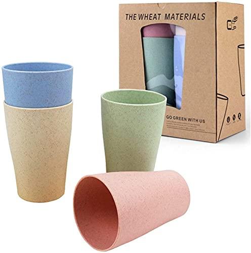 HUOCAI Juego de Tazas de Vajilla de Paja de Trigo Vaso Taza Biodegradable Paja de Trigo para Agua Café Jugo de Tazas Cepillo de Dientes para niños Adultos 400ml Tazas (Pack de 4)