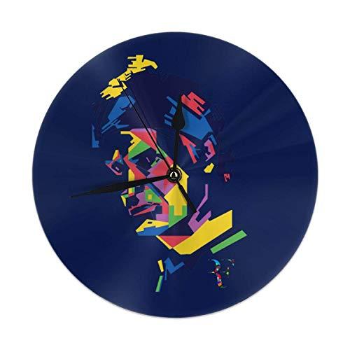 NR Klassische Roger Federer Moderne Wanduhren Vintage-Stil Runde Wanduhr aus Glas, Retro hängende Uhr, Wohnkultur Accories