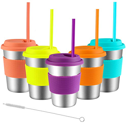 Stainless Steel Cups with Lids and Straws, Spnavy 5 Pack 12...