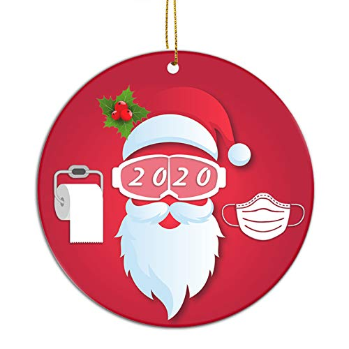 FREE FISHER Santa Wearing Mask 2020 Christmas Tree Ornament   Ceramic Stocking Stuffer Gift   Xmas Tree Decoration Gifts  Quarantine Xmas Gifts