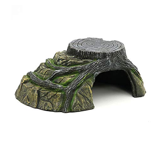 FJROnline Reptile Rock Hide Cave With Platform Hideaway Oranment For Bearded Dragon Tortoise Small Lizards Fish