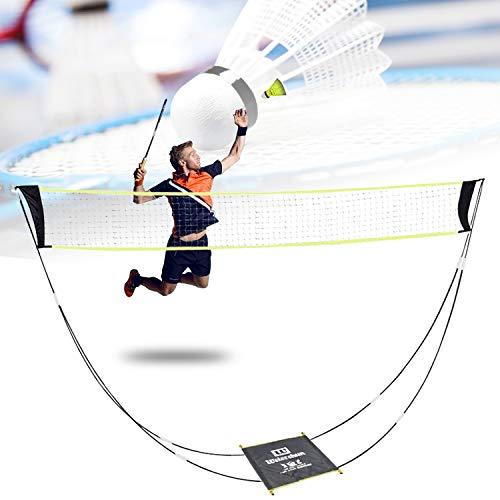 Red de bádminton portátil para jardín y suelo, bolsa de transporte, red de voleibol para interiores y exteriores, deportes de playa (amarillo)