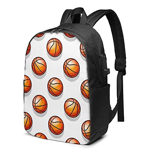 Mochila deportiva de baloncesto, mochila de viaje con puerto de carga USB para hombres y mujeres de 17 pulgadas - negro - talla única
