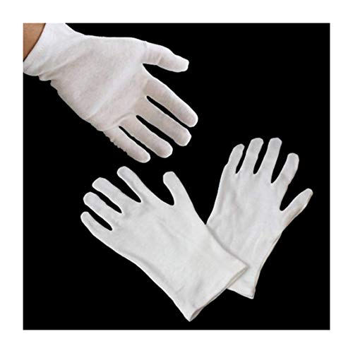 HAND ® 12 Pairs GL1 Gloves White Coin Jewellery Silver Inspection Cotton Gloves - Size Small-Medium Stretchable - Light Weight by HAND