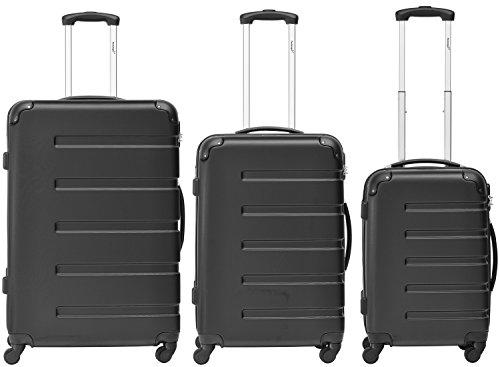 Packenger Kofferset - Marina - 3-teilig (M, L & XL), Schwarz, 4 Rollen, Koffer mit Zahlenschloss, Hartschalenkoffer (ABS) robuster Trolley Reisekoffer