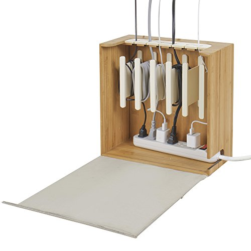 "G.U.S. Cord Corral and Cable Organizer with 6-Magnetically Secured Cord Spindles -""Zen"" Collection, Made of Eco-Friendly Bamboo"