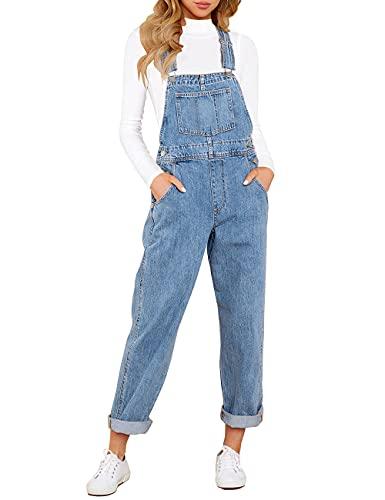 Vetinee Women's Dark Blue Classic Adjustable Straps Pockets Boyfriend Denim Bib Overalls Jeans Pants Large