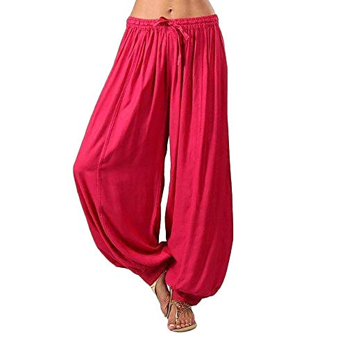 Realdo Women Harem Yoga Pants, Womens Plus Size Solid Color Casual Loose Pants Women Trousers Red
