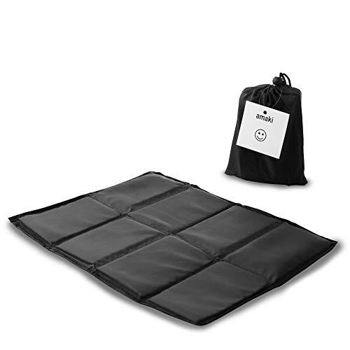 amaki Thermo Outdoor Sitzkissen Sitzunterlage faltbares Thermokissen Isoliert 2er Pack (2 x Schwarz)