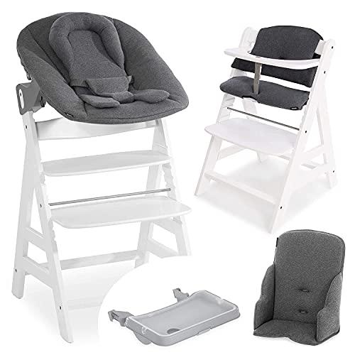 Hauck Alpha Plus XXL Newborn Set - Trona Evolutiva Madera con Hamaca recién nacidos, reductor de asiento y cojín - Trona bebe con bandeja extraíble - Blanco /gris oscuro