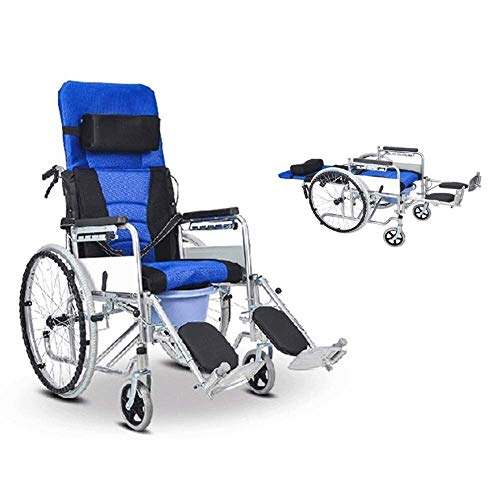 Home Portable Wheelchair Commode Chair Mobile Portable Ligh Weight Full Lay Folding Hand Push Type Walker 94