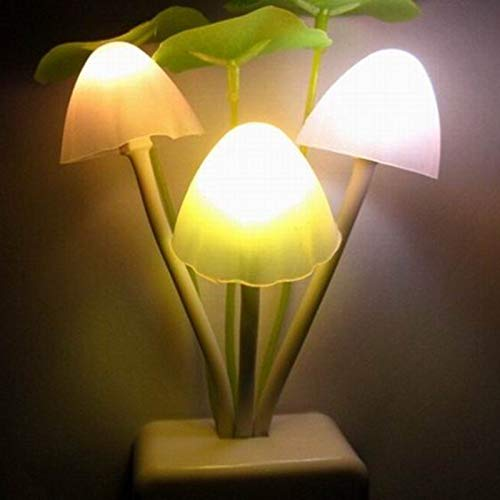 Nieuwigheid Creatief Nachtlampje Eu Plug Lichtsensor 3 LED Kleur Paddestoel Lamp Led Baby Nachtlampje