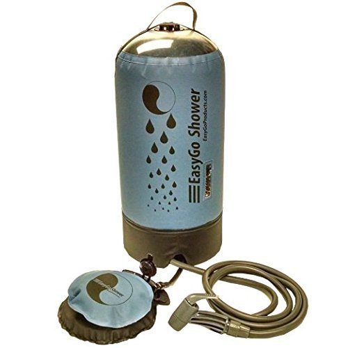 EasyGo Products - 2016 Model Pressurized Solar Camping & Rinse Shower, Great for Camping, Rinsing, Backpacking, Surfing, Paddle Boarding, Beaches, Hiking, 3+ Gallons