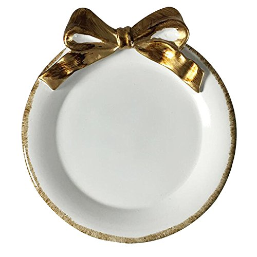 NoBrand Style européen Assiette à dîner Ronde Lave-Vaisselle Coffre-Fort Nœud Papillon Bol Assiette Plat (Blanc)