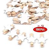 JUYOO Wäscheklammer 100 Stück Holzklammern Zierklammern Dekoklammern Handwerk Clips -