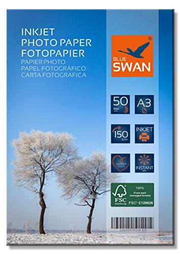 BLUE SWAN 50 Blatt Fotopapier A3 150g hochglanz wasserfest einseitig