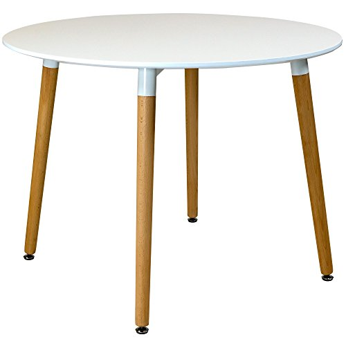 Charles Jacobs 100cm Circular Dining Table With White Tabletop and Solid Beech Wood Legs