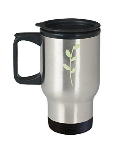 Floral Green Leaf Travel Mugs - Funny Christmas Gifts - Porcelain White Travel Coffee Mug Cute Cool Ceramic Cup Travel Mugs, Best Office Travel Tea Mu