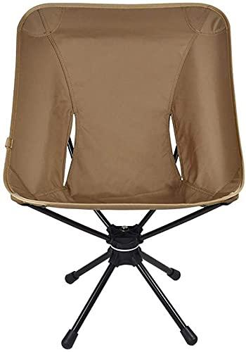 Silla de Acampada,Asiento deportivo de pesca portátil, silla giratoria plegable para acampar, caza, silla de playa de ocio ligera para el verano, ir a la playa, tomar el sol, pescar(Color:Khaki)