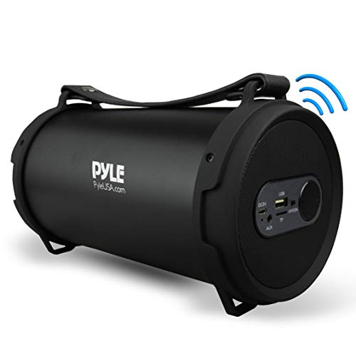 Pyle Portable Speaker, Boombox, Bluetooth Speakers, Rechargeable Battery, Surround Sound, Digital Sound Amplifier, USB/SD/FM Radio, Wireless Hi-Fi Active Stereo Speaker System in Black (PBMSPG7)
