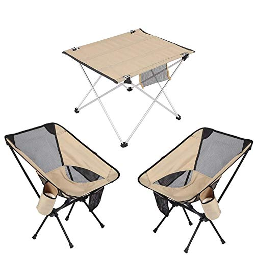 BGFS Juego de mesa de silla de camping portátil, mesa de tela ultra ligera de aleación de aluminio plegable roll tabla, muebles al aire libre para barbacoa picnic