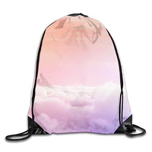 Etryrt Prämie Turnbeutel/Sportbeutel, Pink Clouds Galaxy Drawstring Backpack Bag Shoulder Bags Gym Bag for Adult