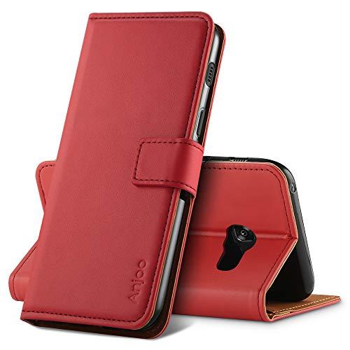 Anjoo Hülle Kompatibel für Samsung Galaxy A3 2017, Handyhülle Tasche Premium Leder Flip Wallet Hülle Kompatibel für Galaxy A3 2017 [Standfunktion/Kartenfächern/Magnetic Closure Snap], Rot