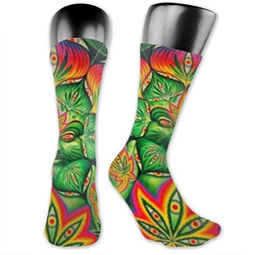Niños Niñas Tercer ojo Cannabis Leaf Weed Marihuana Calcetines deportivos Calcetines altos hasta el tobillo Medias de compresión por debajo de la rodilla Calcetines divertidos casuales a media