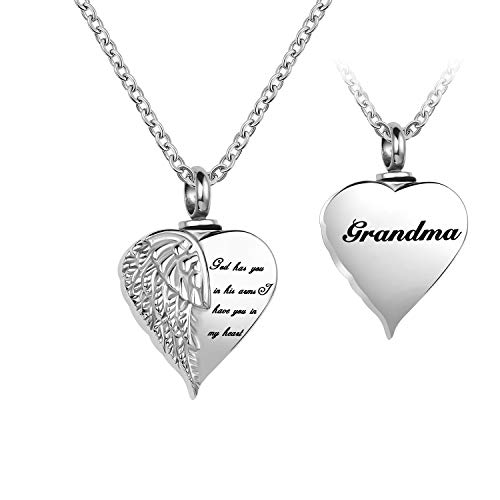 LuxglitterLin Angel Wing Heart Cremation Urn Necklace for Ashes Grandma Keepsake Memroial Jewelry God Has You in His Arms I Have You in My Heart