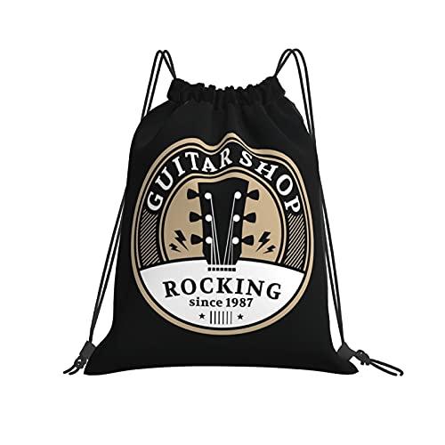 Nicegift Guitar Shop Label Mochila deportiva con cordón para hombres y mujeres