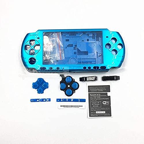 Einuz Nuevo reemplazo de la consola de la carcasa completa para la consola Sony PSP 3000 cubierta de la carcasa de la carcasa con el juego de botones (azul)