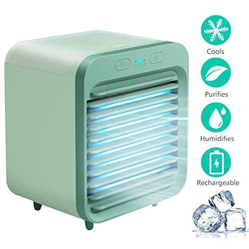 Climatizzatore Portatile, Condizionatore Portatile, Raffreddatore D'aria Ventilatore Portatile Air Cooler con Batterie da 5000 mAh, 3 Velocità Serbatoio D'acqua Ideale per Casa Ufficio Viaggi