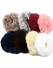iconic Fluffy Fur Rubber Bands for Girls (Multicolour, Set of 6)