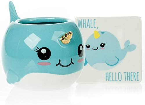 Narwhal Mug Coaster Gift Set Unique Hand Painted Novelty 3D Ceramic Coffee Mugs Gifts product image
