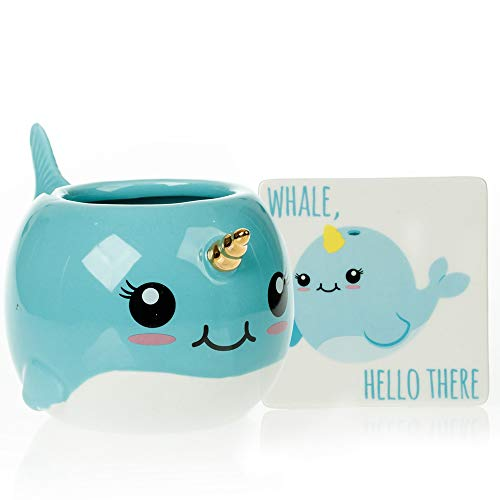Narwhal Mug & Coaster Gift Set - Unique Hand Painted Novelty 3D Ceramic Coffee Mugs Gifts. Includes Cute Coaster With a Fun Whale Hello There Phrase. Cool Cup for Coffee Tea or Kitchen Bedroom Decor
