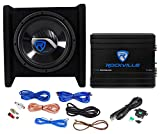 Rockville RV10.1D 500w 10' Loaded Car Subwoofer Enclosure+Mono Amplifier+Amp Kit