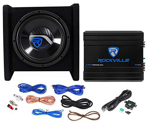 "Rockville RV10.1D 500w 10"" Loaded Car Subwoofer Enclosure+Mono Amplifier+Amp Kit"
