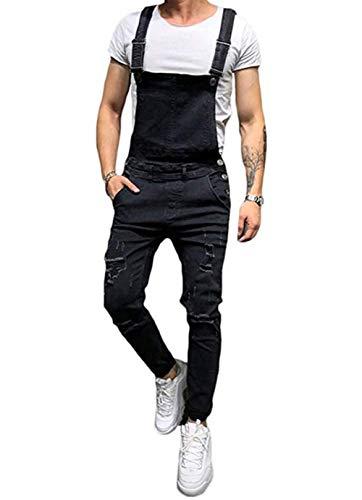 Männer Denim-Hosen Lässige Retro Combat Cargo Latzhose Latzhose Stonewash Jeans Jumpsuits (S, hellblau)