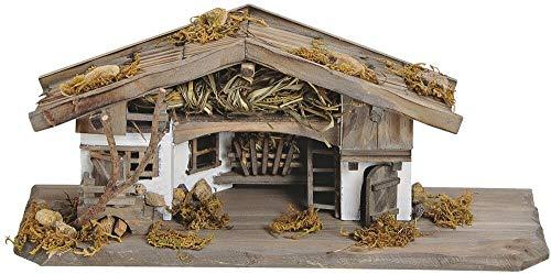 matches21 Krippe Weihnachtskrippe Stall Holz/Echtholz alpenländisch braun/weiß liebevolle Details 33x13x13 cm