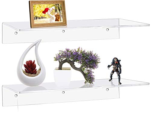 Sooyee 2 Pack 15 Inch Clarity Acrylic Floating Shelves/Wall Mounted Photo Frames, Collectibles Display Organizer,Modern Home Decor,Clear