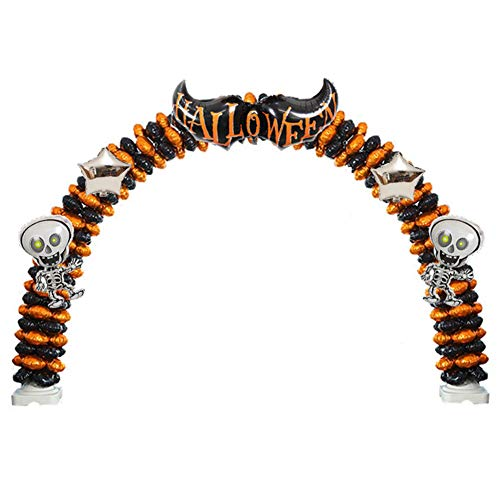 LUSHUN Halloween Balloon Set, Garland Arch Kit, Big bat, Two Dancing Skeletons with Arch, Holiday Dress Up to Heighten The Festive Atmosphere Many Styles are Available Three Sizes,8 Knots