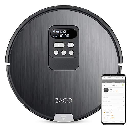 ZACO V85 Saugroboter mit Wischfunktion, App & Alexa Steuerung, 8cm flach, automatischer Staubsauger Roboter, 2in1 Wischen oder Staubsaugen, für Hartböden, Fallschutz, mit Ladestation