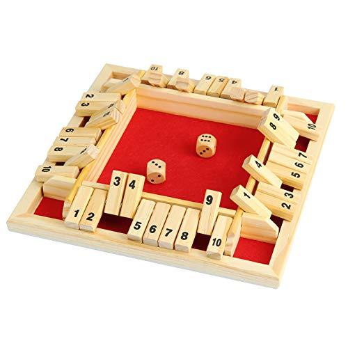 NXACETN Holz Brettspiel 2 Würfel Shut The Box Würfelspiel Classic 4-seitiges Holzbrett Weihnachten Tischspielzeug mit Würfeln für Kinder Erwachsene Lernzahlen Strategie Risiko 2-4 Spieler Red