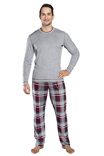 Italain Fashion Pijama de Manga Larga para Hombre Conjunto de Dos Piezas Ropa de Dormir Gris