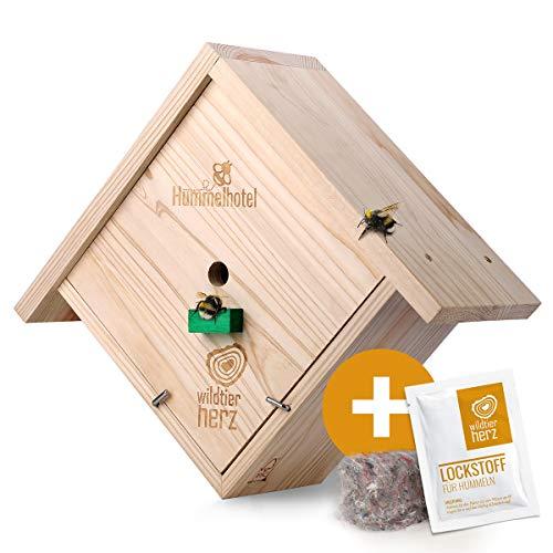 wildtier herz | Hummelhotel zum Aufhängen - inkl. Hummel Lockstoff + Nistmaterial, Nisthilfe für Hummeln aus wetterfestem Massiv-Holz, Hummelhaus, Insektenhotel für den Garten