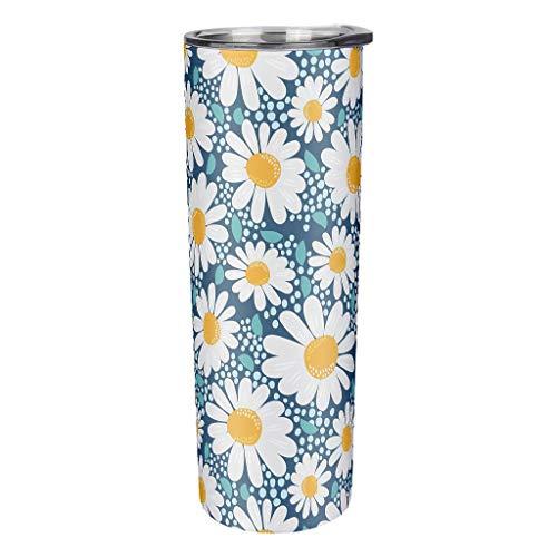 Niersensea Taza de viaje de acero inoxidable con diseño de margaritas, primavera y verano, con aislamiento al vacío, con pajita y tapa, antigoteo, color blanco, 600 ml